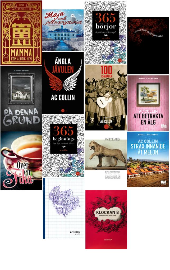 Exempel på böcker jag har gett ut, som författare av romaner och noveller, eller medverkande i antologier.
